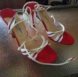 Jimmy Choo red and white strap heels